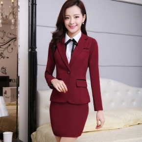 2015 spring Korea Reception company work uniform women skirt suits BLKE 1510