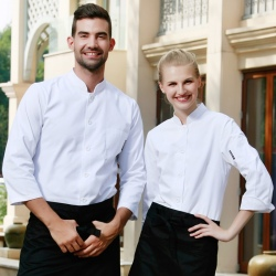 single breasted sushi restaurant chef jacket uniforms both for women and men
