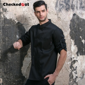 double breasted restaurant black white chef jacket uniforms