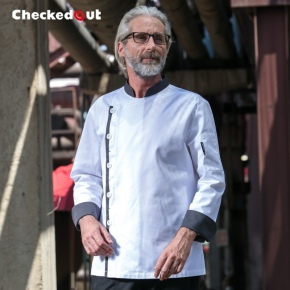 grey hem side opening chef jacket coat chef uniform