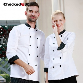 stripes collar women men chef jacket coat chef uniform