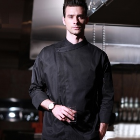 France side placket restaurant black chef coat chef jacket