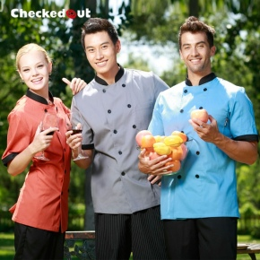 short sleeve candy unisex restaurant chef jacket chef work wear