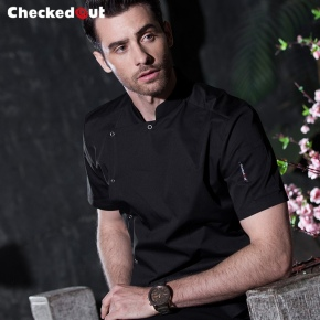 short sleeve side opening restaurant chef jacket chef uniform