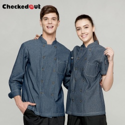 restaurant chef cooking work jacket denim chef coat uniform
