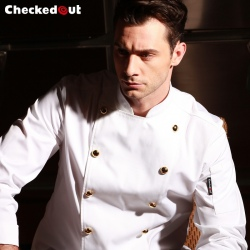 metal button restaurant chef cooking work jacket chef coat uniform