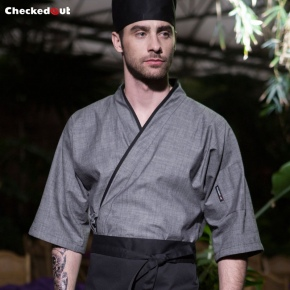 gray color Japanese sushi restaurant chef coat uniform jacket