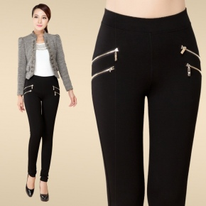 casual dual zipper women trousers pant