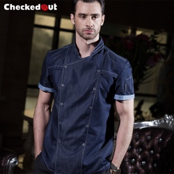 short sleeve denim causal restaurant chief chef uniform working wear