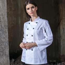 double breasted cafe restaurant bread store staff jacket uniforms white color