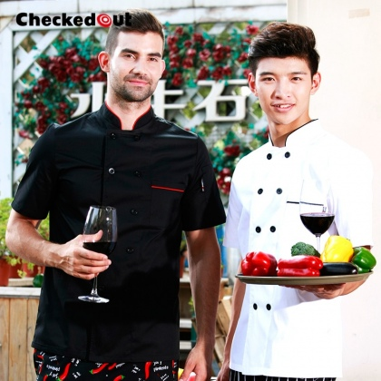 high quality contrast collar hem restaurant bread store chef jacket uniforms