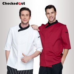 France design contrast collar hem restaurant bread chef jacket uniforms