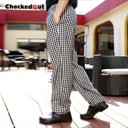 checkered restaurant men chef working pant trousers uniform