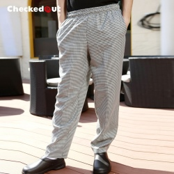 small checkered printing chef work pant trousers uniform for women