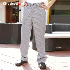 easy care checkered restaurant chef work trouser pant