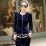 great fashion European American design Advanced velvet lace hem women's suits (jacket +pant)
