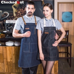 fashion restaurant denim fabric chef apron cafe pub wait staff apron wholesale