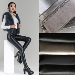 high waist warm fleece women legging leather pant