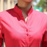 long sleeve band collar basic waiter waitress uniform shirt
