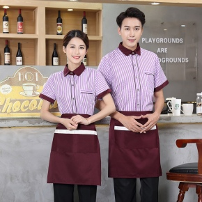 fashion Asian stripes printing Chinese food restaurant waiter waitress staff uniform