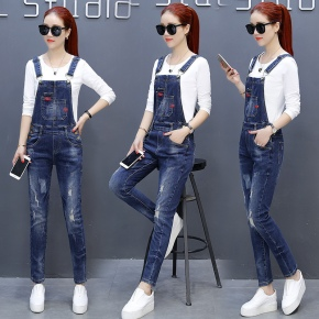 Europe America f zipper connection denim women's jumpsuits rompers women pant
