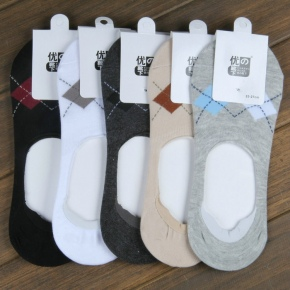 quilted printing men's invisible ankle socks