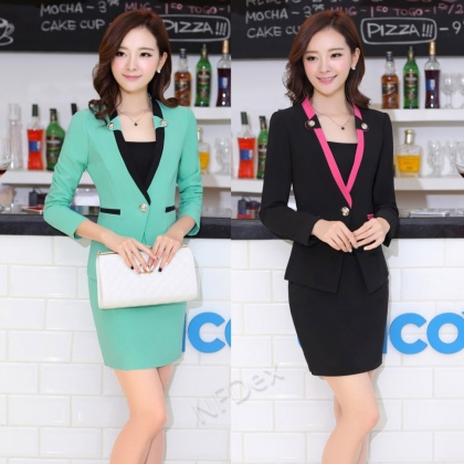 candy colors hotel office desktop staff uniform skirt suits work wear for women