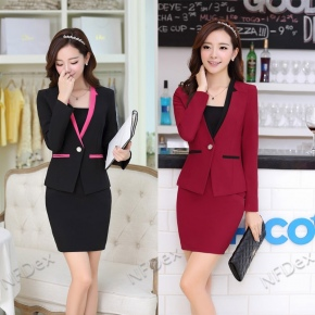 long sleeve V collar Korea style chic office lady work suits ,three-piece suit