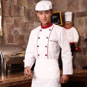long sleeve red button restaurant chef coat uniform design