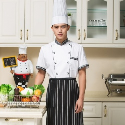 short sleeve twill cotton chef coat hotel uniform promotion