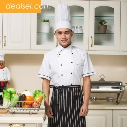 short sleeve round button chef uninforms coat