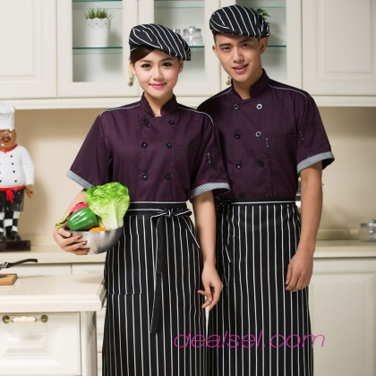 special purple color short sleeve chef coat