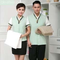 summer clear light green bath waiter uniform