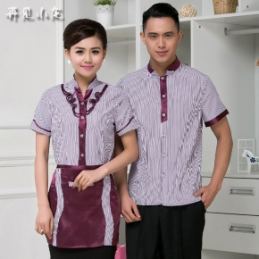 fashion bow collar women waitress uniform for work