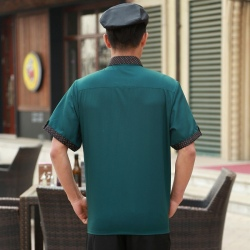fashion small dot collar hem fast food restaurant uniform