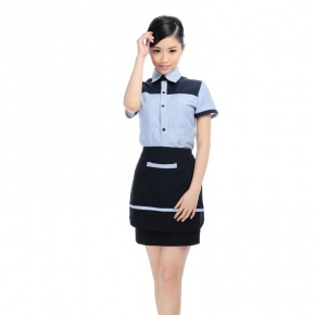 slim stripes summer shirt for waiter waitress apron promotion