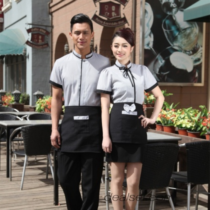fashion England uniform waiter waitress shirt apron