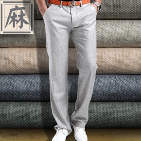 fashion casual Europe America straight leg linen fabric business men's pant trousers
