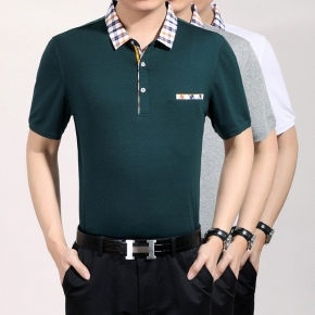 youth men mercerized cotton fabrics turnover collar T-shirt