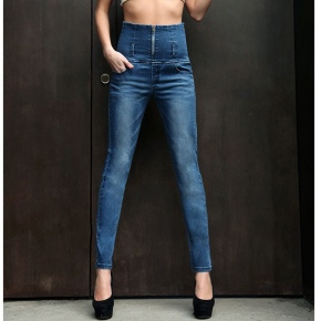 fashion autumn ultra wide waist binding high-grade Europe women's jeans wholesale