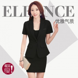 peak collar short sleeve slim fit office women suits blouse and skirt