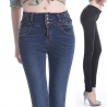fashion design sexy high waist lycra denim women's female trousers jeans pencil pant