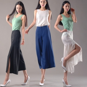 casual special leg opening wide leg pants