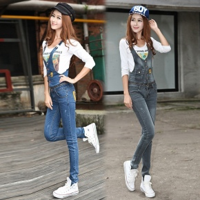 Europe America female outfit autumn zipper connection denim women's jumpsuits rompers