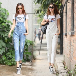 fashion personatlity skull holed denim young women's rompers jumpsuits pant