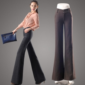winter fashion woman office formal woolen pant,flare pant