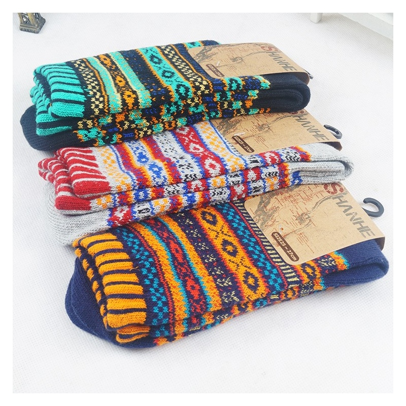 knitted jacquard pattern casual thicken mens cotton socks ...