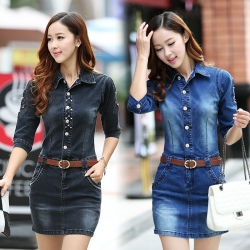 Korea half sleeve skull Embroidery denim women's jumpsuits rompers dress
