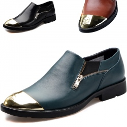 metal toe cowhide genuine leather men shoes business shoes