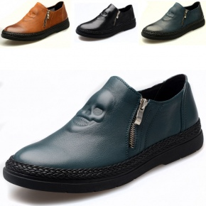 casual skull genuine leather shoes